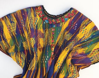 Vintage Guatemalan Huipil, Vintage embroidery blouse, Collectible Ethnic textile, Fiber Art Piece