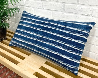 Mud Cloth Pillow, Lumbar pillow cover, African Indigo mud cloth pillow, Morrissey Fabric, Denim Mudcloth pillow