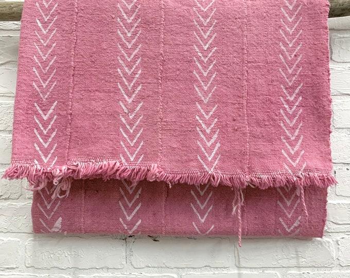 Mud Cloth, Mudcloth throw, Pink mud cloth, African mudcloth fabric, boho fabric, Morrissey Fabric