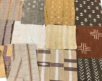 Mudcloth scraps, Assorted mud cloth scraps set of 12 African fabric remnants, Asoke scraps, mud cloth patches