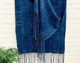 Mud Cloth, Indigo Blue Bogolanfini, Vintage indigo, Authentic African mud cloth scarf, Morrissey Fabric