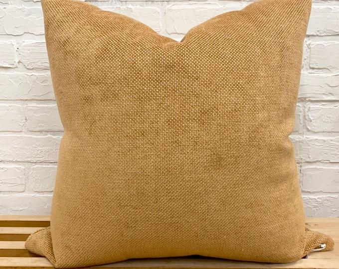 Pillow Cover, Accent Pillow, Mustard Chenille Pillow, Autumn Pillow, Fall Throw Pillow cover, Thanksgiving Pillow