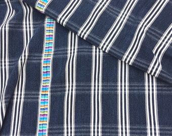 Vintage Guatemalan Denim with Embroidery, Indigo stripe Guatemalan Corte Cloth, Morrissey Fabric