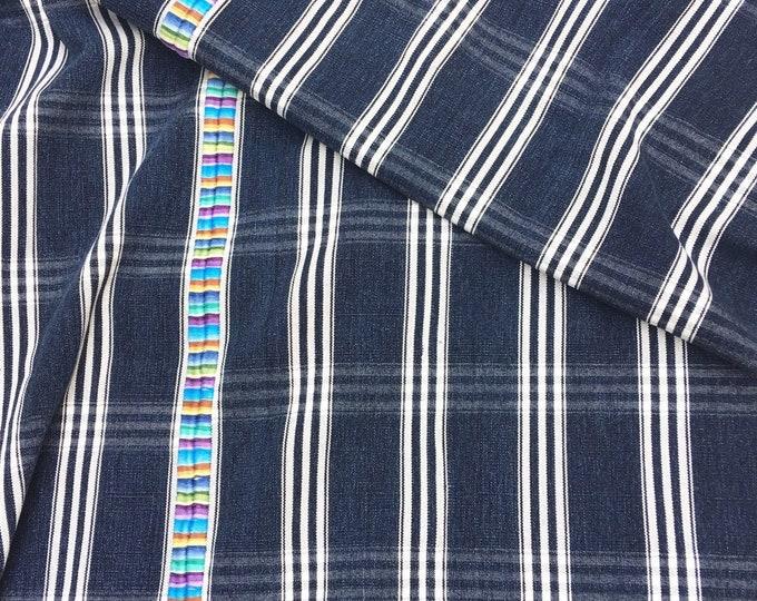 Vintage Guatemalan Denim with Embroidery, Indigo stripe Guatemalan Corte Cloth, Morrissey Fabric