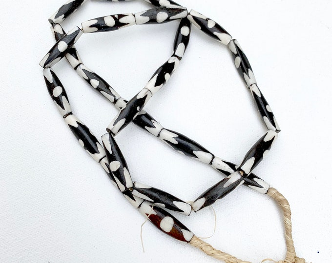 Black and White African Bone Beads, Table Top or Jewelry beads, African trade beads, Morrissey Fabric