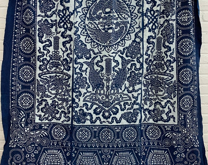 Vintage Batik Fabric, Antique Indigo Bedcover, Hand made fabric, Chinoiserie style, Morrissey Fabric