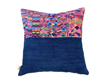 Mud Cloth Pillow, Guatemalan Fabric Embroidery, Mudcloth pillow, Ethnic pillow cover, multi color accent pillow
