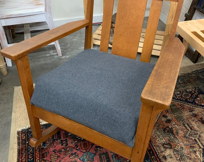 Antique Mission Style Rocker, Solid Oak Vintage Arts and Crafts Rocking Chair, Morrissey Fabric