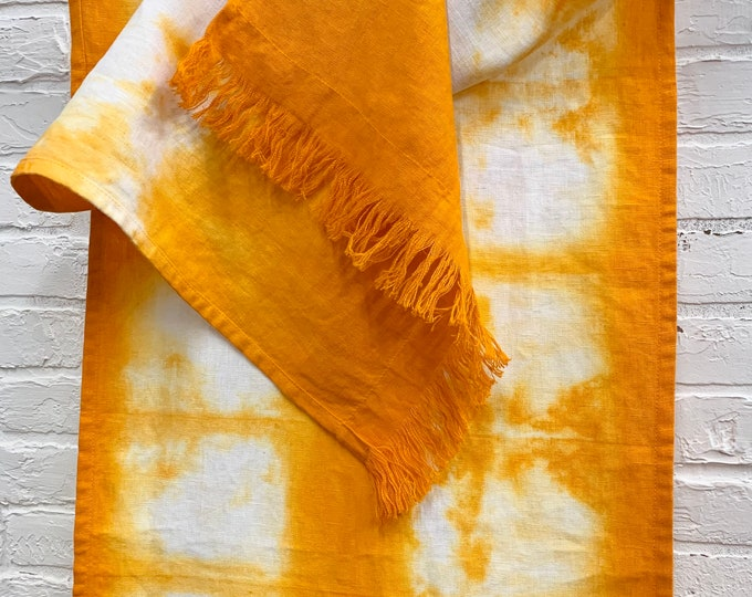 Linen table runner, Hand-dyed, tie dyed scarf, Modern Boho, Pure Linen, Morrissey Fabric