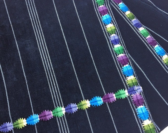 Vintage Guatemalan Corte Cloth, Indigo stripe denim Guatemalan Fabric, Morrissey Fabric