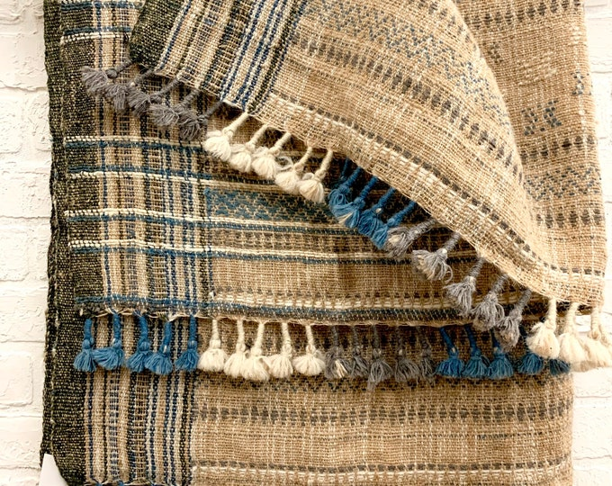 Bhujodi wool throw, Pure wool vintage Indian throw, Wool throw blanket, Tribal wall hanging, Morrissey Fabric