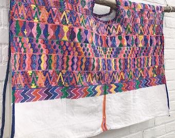 Vintage Guatemalan Fabric, Guatemalan Huipil, Collectible Bohemian Blouse, Ethnic Top, Wall Decor