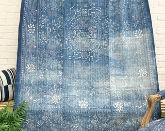 Vintage indigo Batik Fabric, Vintage Bedcover, Hand made fabric, Chinoiserie style, Morrissey Fabric