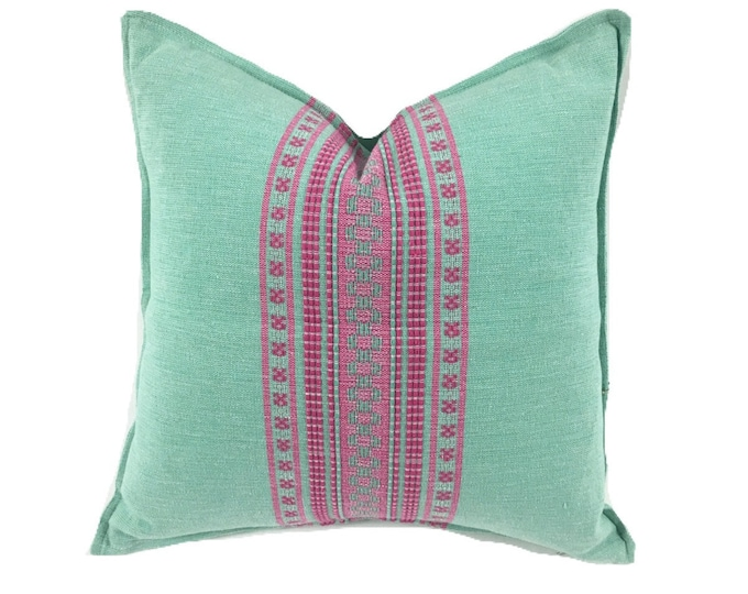 Mexican pillow cover, Seafoam and Pink, Bohemian, Global Style Home Decor, All Cotton