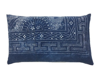 Boho lumbar pillow, Indigo Accent Pillow, Vintage denim pillow, Hill Tribe vintage fabric, Boho Pillow