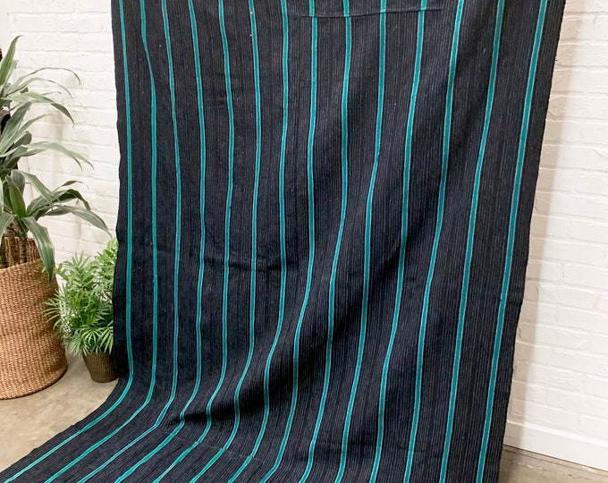Mud Cloth, Vintage African Textile, 83 x 55 inches, Heavy Indigo with Blue/Green Stripes from Uganda