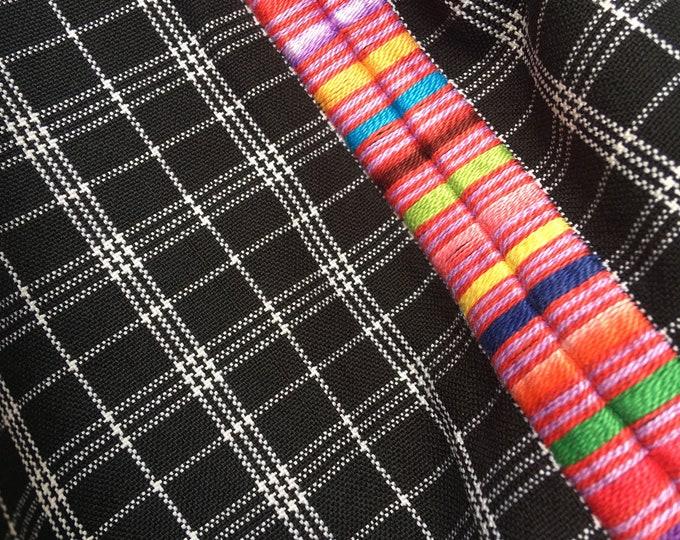 Guatemalan Fabric, BLACK PLAID vintage textile with Randa Embroidery