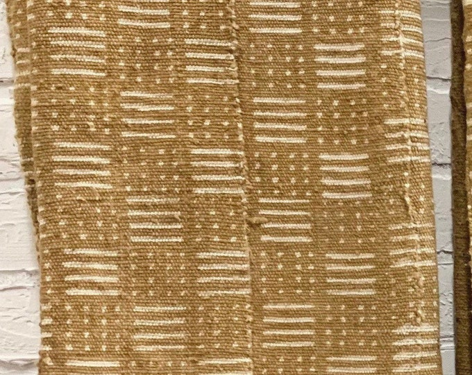 Mud Cloth with tribal pattern, Brass color mudcloth fabric from Mali, Africa, Morrissey Fabric