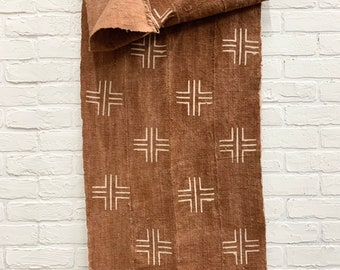 Mud Cloth textile, Authentic African mudcloth fabric, Soft Rust Color, Mud cloth runner, Morrissey Fabric