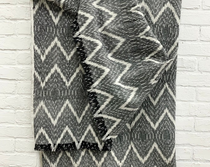 Black and white Ikat throw, cotton throw, Ikat Fabric, Blanket Ladder Decor, Morrissey Fabric
