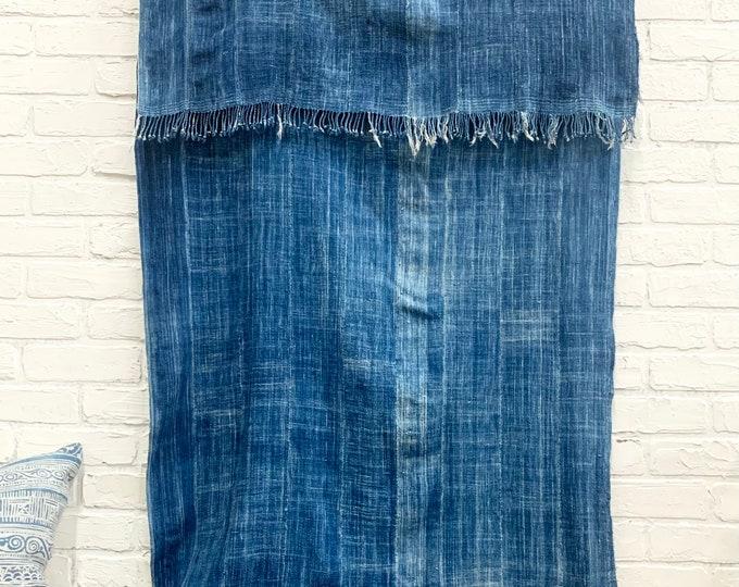 Mud Cloth throw, Indigo mudcloth, Vintage African mud cloth fabric, Morrisseyfabric