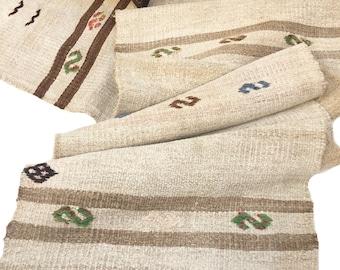 Rustic Style Runner, Laundered Kilim Vintage Rug, Natural and Brown Turkish Rug, Hemp Rug