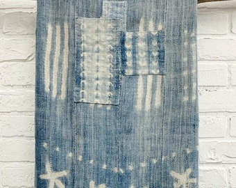 Mud Cloth Fabric, Light Indigo Blue Throw with vintage patches, African Mudcloth, Morrissey fabric