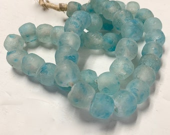 Recycled Glass Bead Garland, Glass Beads from Africa, Jewelry supply, Hand Made Beads