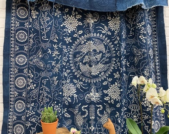 Vintage Batik Fabric, Vintage Indigo Bedcover, Hand made fabric, Chinoiserie style, Morrissey Fabric