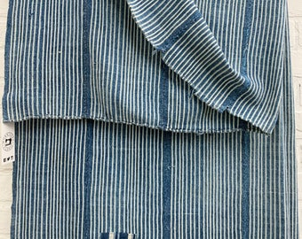 Mud Cloth striped fabric, Vintage Indigo Stripe, Vintage African denim textile
