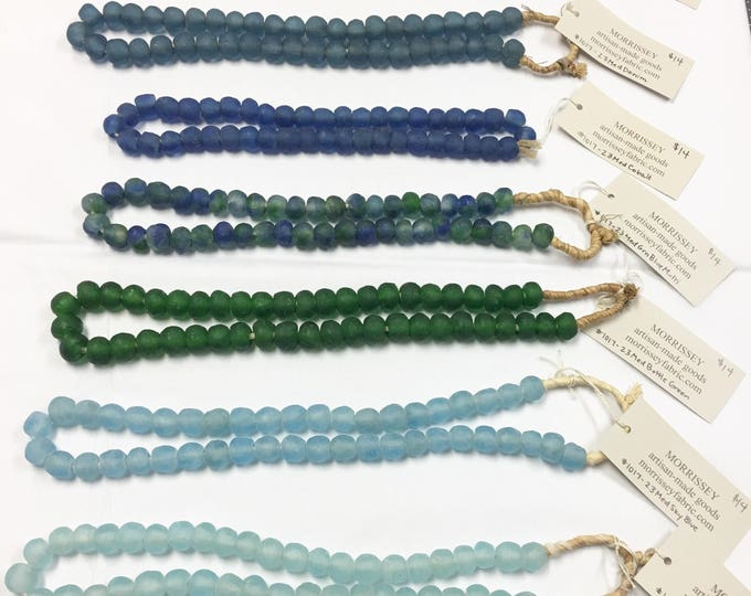 Glass Bead Strand, Glass Beads from Africa, Sea glass beads, Hand Made Recycled Glass Beads