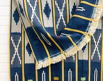 Mud Cloth throw, Vintage Baule Cloth from the Ivory Coast of Africa, mud cloth, vintage indigo fabric