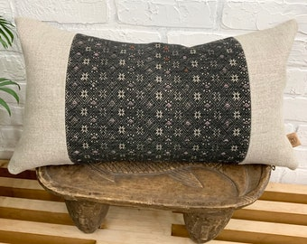 Hmong Pillow Cover, Vintage textile pillow, lumbar pillow cover. Gray Accent cushion, Morrissey Fabric