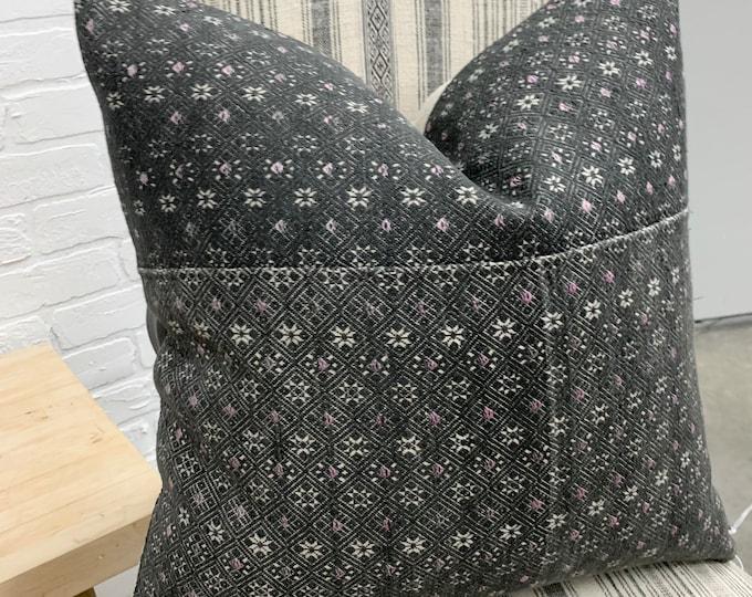 Hmong Pillow Cover, Vintage textile pillow, lumbar pillow cover. Gray Accent cushion, Morrissey Fabric