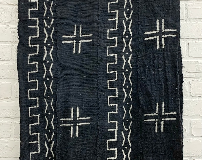 Charcoal Gray Mud Cloth with tribal print, Washed and ready to use mudcloth from Mali