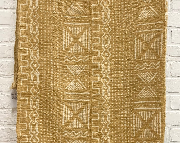 Mud Cloth with tribal pattern, Warm Butterscotch with white mudcloth fabric from Mali, Africa