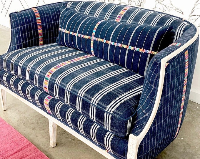 Vintage Blue and white settee with wood frame, Reimagined antique settee, small sofa, Morrissey Fabric