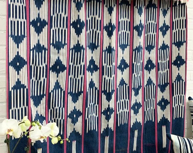 Mud Cloth throw, Vintage Baule Cloth, African mud cloth, vintage indigo fabric, Morrissey Fabric
