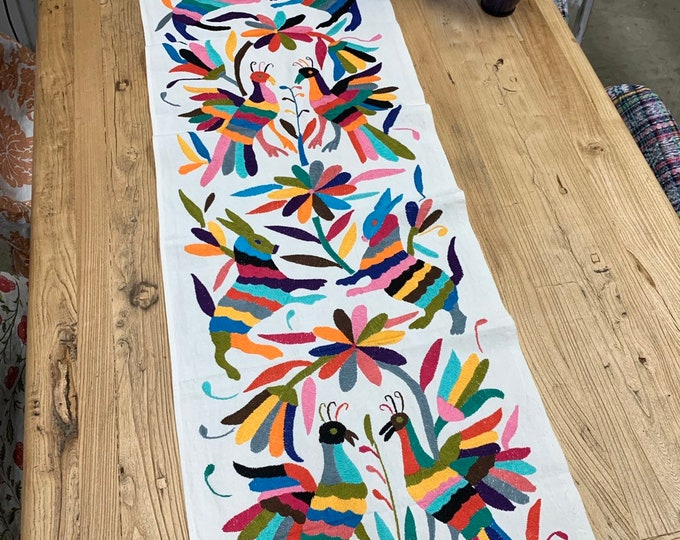 Otomi Mexican Textile. Otomi Fabric, Rainbow of colors, Hand-embroidery on Ivory Cotton, A11