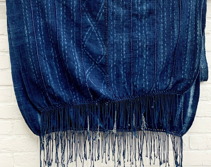 Mud Cloth African Indigo throw with fringe, Navy Blue and light blue Shibori vintage textile, Eyelet details, Morrissey Fabric