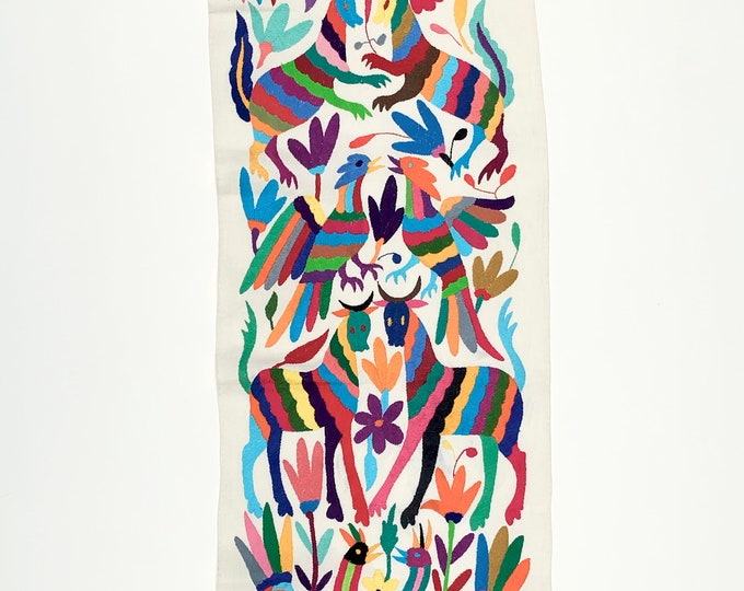 Otomi Mexican Textile. Otomi, Rainbow of colors, Hand-embroidery on Ivory Cotton, A6
