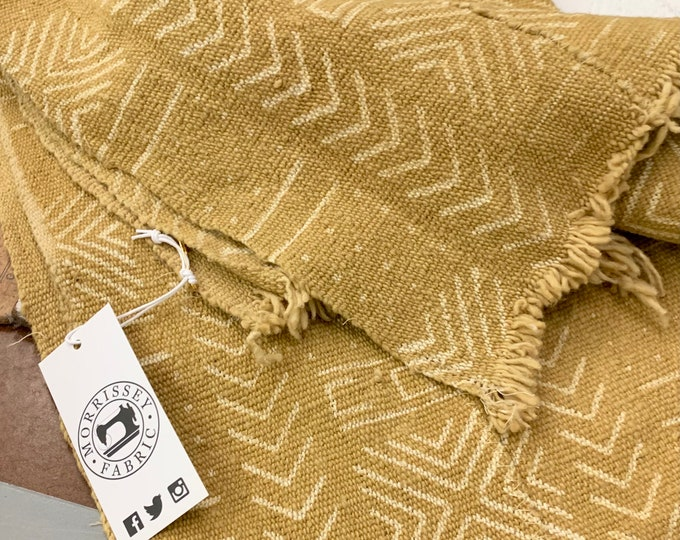 Mud Cloth fabric, Tribal print African mudcloth fabric, Mustard color Mudcloth, Morrissey Fabric