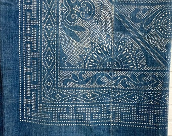 Reserved: Denim Batik Fabric, Vintage Indigo Bedcover, Hand made fabric, Chinoiserie style, Morrissey Fabric
