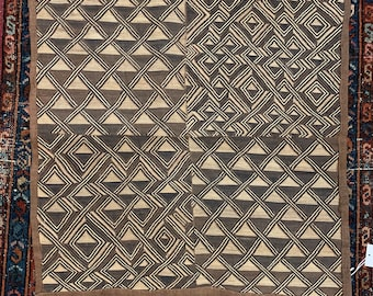 Kuba Cloth Tapestry Wall Decor | Rug Wall Hanging | African Tribal Tapestry, Morrissey Fabric