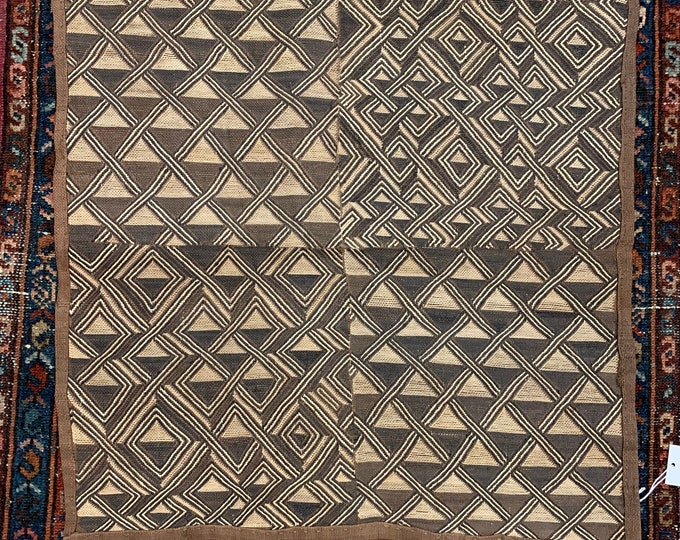 Kuba Cloth Tapestry Wall Decor | Rug Wall Hanging | African Kuba Shoowa Tribal Tapestry, Morrissey Fabric