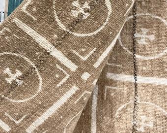 Mud Cloth textile, Mudcloth fabric, African Bogolan, Neutral color mud cloth throw, Morrissey Fabric