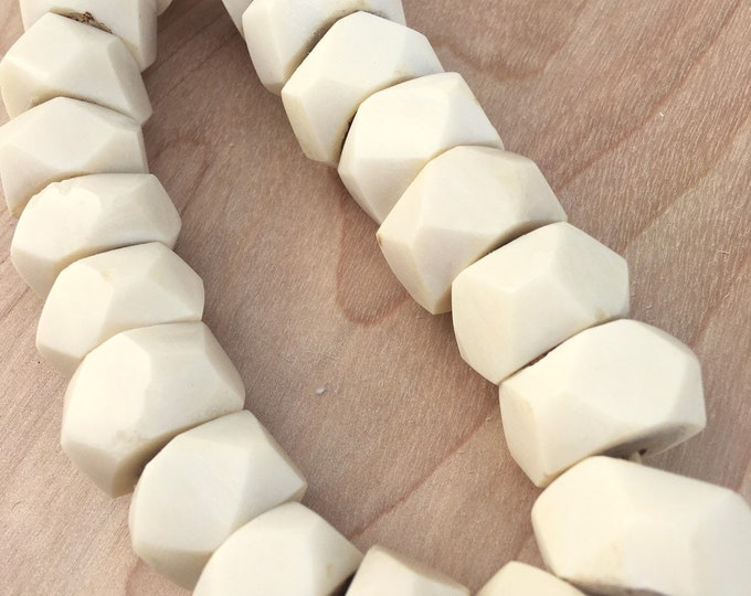 African Geometric Bead Garland, Faux Ivory Beads, Table Top decor, Morrissey Fabric