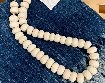African decorative beads, Faux ivory beads, Etched stripe beads, Table Top decor beads