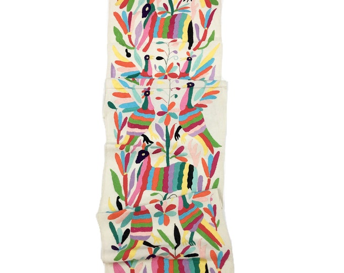 Mexican Otomi Textile. Rainbow of colors, Hand-embroidered Tenango Fabric
