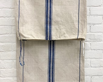 Grain Sack, Vintage Grain sack cloth, Grainsack Fabric, Blue stripe linen grain sack